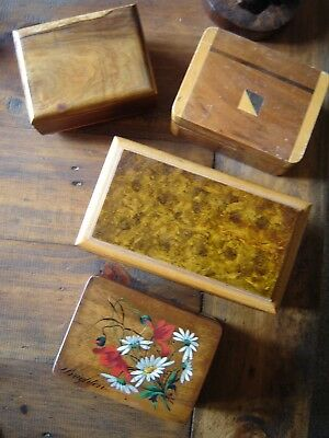 Lovely vintage wooden trinket box/boxes. Three lined inside. Brighton flowers.
