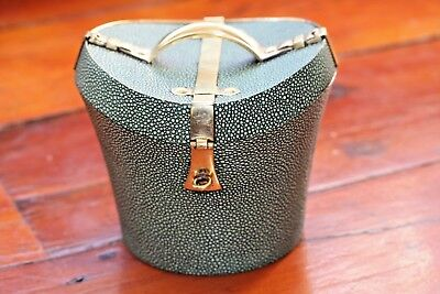 Tea Caddy Caddie hat Box Shaped with Shagreen and Brass detail
