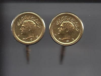Iran 1 Pahlavi M. Reza Shah a pair of Cufflinks 22k Gold Coin 30.5gm.XF. PERSIAN