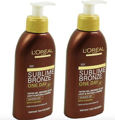 L'OREAL 2x 150ml Sublime Bronze INSTANT TAN One Day FAKE TANNING Tinted Gel