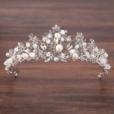 5cm High Flower Crystal Beads Pearl Wedding Party Pageant Prom Tiara Crown