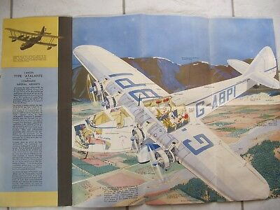 IMPERIAL AIRWAYS rare brochure affiche poster ATALANTA edition 1932 open 72x50cm