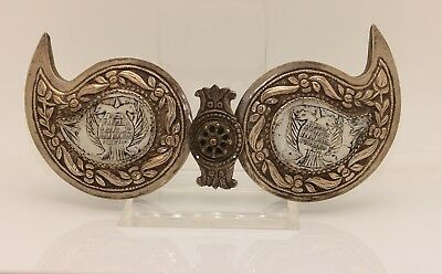 Antique Original Silver Greek Pearl Eagle Decorated Amazing Belt Buckle