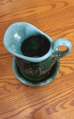 Authentic Vintage Hull Pitcher and Under Plate Turquoise and Green Near Mint