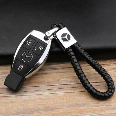 Car Logo Key Keyring Leathe Weave Straps Chain For Toyota Mercedes BMW Audi VW