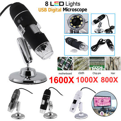 1600X/1000X Digital 8LED USB Zoom Microscope Endoscope Camera Magnifier + Stand