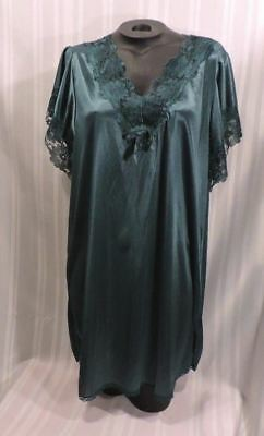 Vintage 70s Nightgown Petra Fashions LARGE GREEN short baby doll Nightshirt Lace