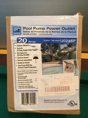 Midwest Pool Pump Power Outlet #U024SP 20 AMP 120V (NIB)