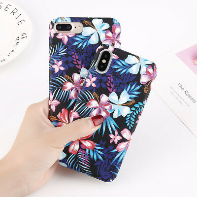 Luxury Flower Hard Case Shockproof Slim Pattern Cover for iPhone X 6 7 8 Plus