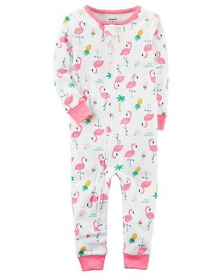 6255f6d90 NEW CARTER S GIRLS 1 Piece Pink Flamingo Bird PJs Cotton NWT 12m 18m ...
