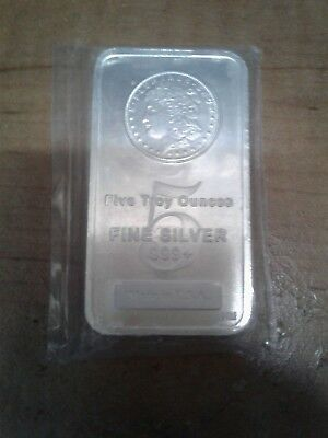 5 Troy Oz .999 Fine Silver Bar USA