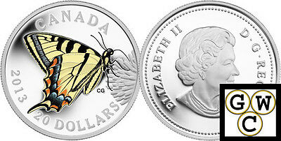 2013 Prf $20 Silver 'Tiger Swallowtail' Colorized Fine Silver Coin (13207)(OOAK)