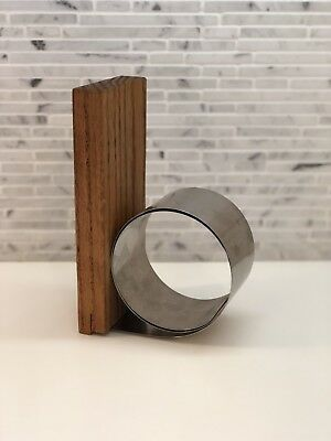 Vintage Mid Century Modern Bookend Coiled Metal & Wood Stainless Steel