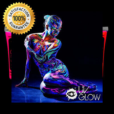 UV Glow Neon Face and Body Paint Set of 6 Tubes - Fluorescent Brightest glow...