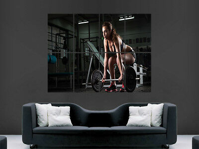 Weightlifting Poster Gym Fitness Sexy Hot Girl Muscles  Print Giant Wall Art