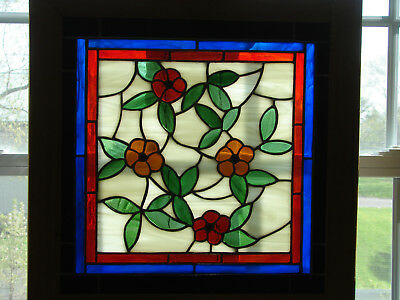 Handcrafted Stained Glass Window /flowers/ Framed for Hanging