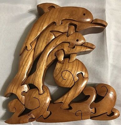 "7.5"" Brain Teaser Dolphin Wood Puzzle Sculpture 3D Kids Toys Difficult"