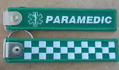 Paramedic Woven Keyring / Keytag Size 125Mm X 25Mm With Flat Plate & Split Ring