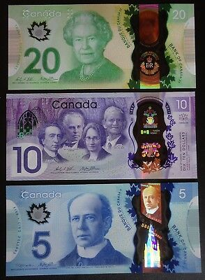 2013-2017 ~ CANADA banknotes Set  $20, $10 & $5 ~ MINT polymer notes