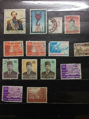 Old collection of stamps from asian countries and UN