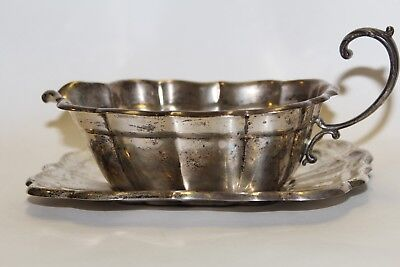 REED & BARTON Gravy Boat & Tray 400g STERLING SILVER Windsor Estate RARE