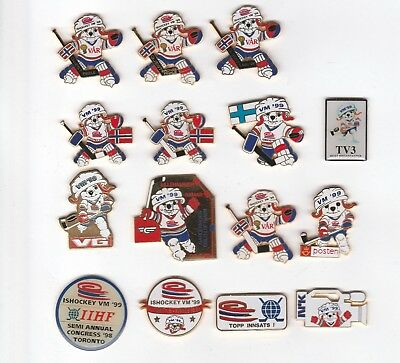 Nice collection of ice hockey world championship 1999 pins - media guest etc