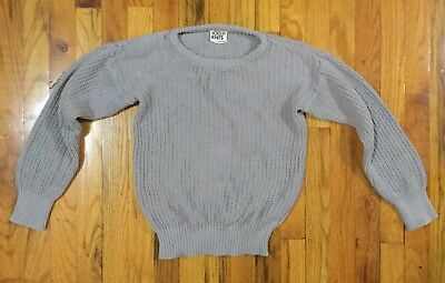 American Apparel Youth Knits 12 Cotton Crew Neck Pullover Preppy Layer RARE grey