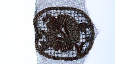 Vintage lace net mesh embroidered motif trim trimming black- sold per metre