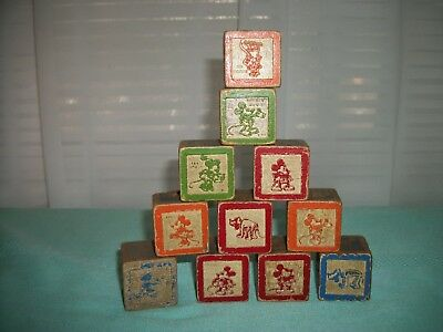 Antique Mickey Mouse Miscellaneous Alphabet Letters  Wood Blocks Qty. 11