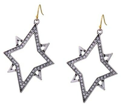 MALTESE CROSS STAR Silver Gold Crystal Rhinestone Designer Drop Hook Earrings