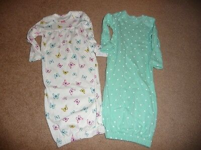 NEW NWT Carters girls size 3 MONTHS 2 pack gowns butterfly/polka dots