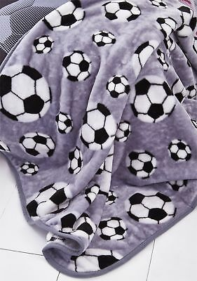 Catherine Lansfield Kids Boys Football Throw Bed Throwover Soft Blanket Grey New