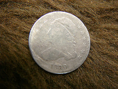1830 U.s. Capped Bust Dime - Well Traveled But Still Respectable Oldtime Type