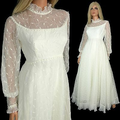 Vintage 60s White Embroidered Chiffon WEDDING DRESS Bridal Gown Tulle Fit Flare