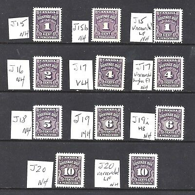 Canada 4th VIOLET POSTAGE DUES SCOTT J15/J20 MINT NH/2MH (SEE PIC) (BS8744-14++)