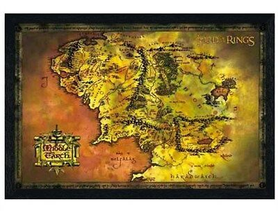 Lord of the Rings in schwarzes Holz eingerahmtes Middle Earth Poster 61x91,5cm