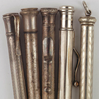 Lot of five French vintage mechanical pencils, silver plated and chrome, 1920s