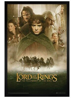 Lord of the Rings in schwarzes Holz eingerahmtes The Fellowship Poster 61x91,5cm