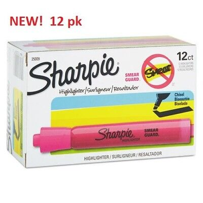 NEW! SHARPIE HIGHLIGHTER PINK Box of 12 Chisel Tip Markers