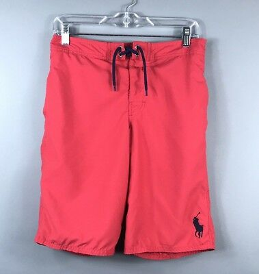 Ralph Lauren Red Swim Board Shorts Navy Blue Pony Logo Lined Youth Large 14-16