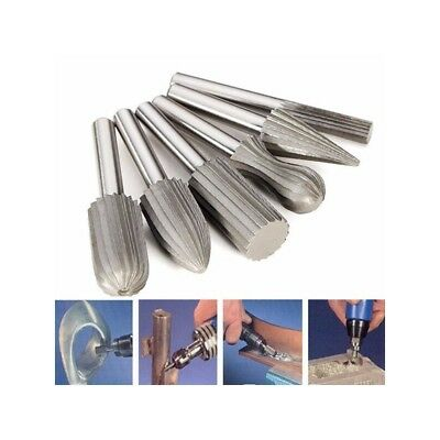 Drillpro 6pcs 6mm Shank Tungsten Steel Rotary File Cutter Engraving Grinding Bit