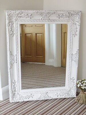 Large White Wall Mirror Very Ornate Antique Style
