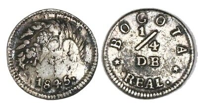 Bogota, Colombia, Silver 1/4 Real, 1845, Five-Pointed Stars, Ex-Dana Roberts