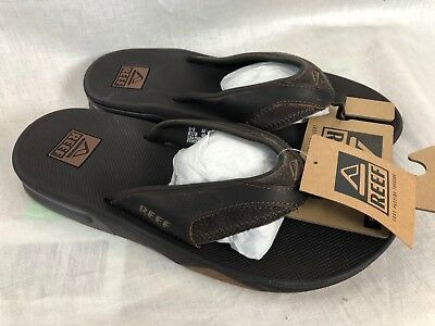 e2d5f1b431f3 New Reef Fanning Leather Mens Flip Flop Brown Sandal Free Ship Bottle Opener