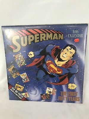 1988 DC Comics Superman Calendar New Old Stock With Fold Out Poster