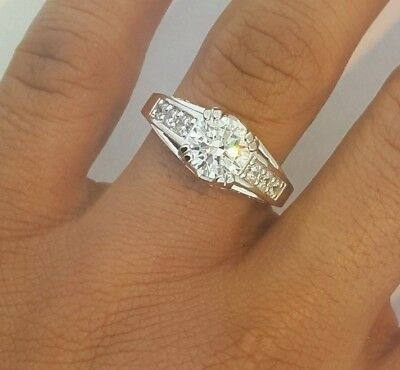 14K White Gold 2 Ct Round Cut Diamond Solitaire Engagement Ring