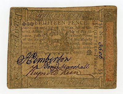 (PA-163) October 1st, 1773 18 Pence PENNSYLVANIA Colonial Currency Note