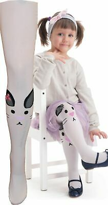 Kids White Patterned Tights Rabbit by Knittex Girls 40 Denier