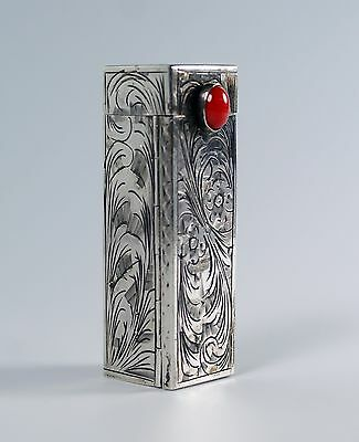 Vintage Etched 800 Silver Red Cabochon Italian Lipstick Case with Mirror Unused