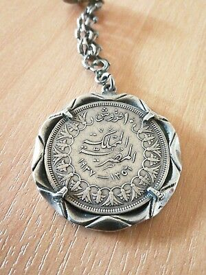 Collectors King Faruk 1936 10 Piastre Coin Hallmarked Sterling Silver Set/chain